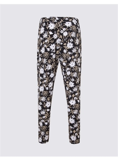 Marks & Spencer Çiçek Desenli Tapered Pantolon Siyah